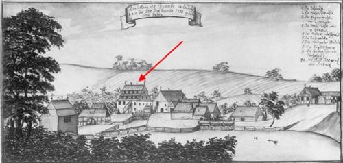 OGÓLNY WIDOK LUBICZA wg. rysunku z albumu Steinera z pierwszej połowy XVIII w. — Strzałka wskazuje budynek papierni.