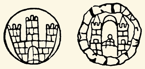 ZNAKI WODNE papieru produkcji toruńskiej. — Z lewej: Najstarszy filigran z 1565 r. Z prawej: Filigran, wyobrażający pieczęć staromiejską z Madonną z wieżami. — Według Mocarskiego, Książka w Toruniu do roku 1793